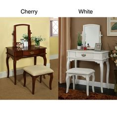 @Overstock - Enjoy some much needed personal grooming space with this attractive white vanity and stool set. This versatile vanity is a perfect makeup table, bedroom accent piece, writing desk, or non-traditional a dressing table.http://www.overstock.com/Home-Garden/Lorena-Solid-Wood-Vanity-Table-and-Stool-Set/6596168/product.html?CID=214117 $249.99