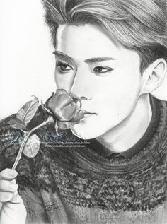 9x12in Charcoal and Graphite on Mixed Media Paper Had some major Sehun feels....