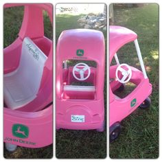 Pink John Deere cozy coupe-need to watch for faded cars this summer to redo!