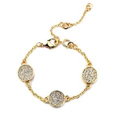 """3 Disk Bracelet with extension Beautiful 3 Disk Bracelet  Length: 7.5""""  Disk Size: 5/8""""  Materials: Gold-tone Base Metals, Rhinestones  Nickel Free, Lead Free  Condition: New Jewelry Bracelets"""