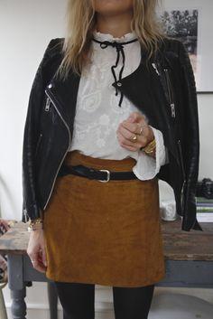suede skirt or orange shorts, white blouse, tights, black skinny belt, leather jacket