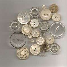 Vintage mother of pearl and clear buttons