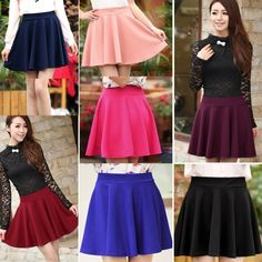 Material: Cotton Blend Style: Women Girls' Mini Skirt 10 Colors available: Black, Red, Dark Blue, Pink, Rose Red, Green, Wine Red, Lake Blue, Dark Gray, Sapphire Blue. Size: Approx. Length:38CM/14.82