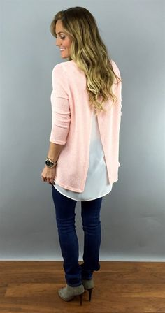 Spring Knit Sweater with Chiffon Detail {Jane Deals}