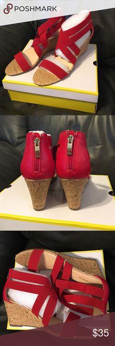 f4a0cac3bf30d1 Liz Claiborne Rockelle Red wedge strappy sandals Liz Claiborne. Red  stretchy strap sandals. Cork