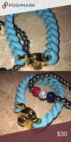 Rustic Cuff!! Blue and gold bracelet!! Super adorable and flexible rustic cuff bracelet!! Lots of fun and really popular right now! 😊💙🎉 rustic cuff Jewelry Bracelets