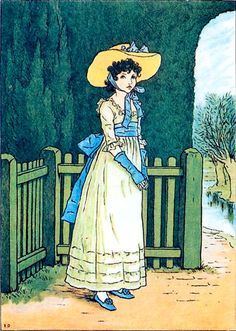 KATE GREENAWAY illustration of a young woman dressed in a white ruffled dress with a large sash tied in a bow wearing a large brimmed hat against a background of a garden fence tall hedges and stream