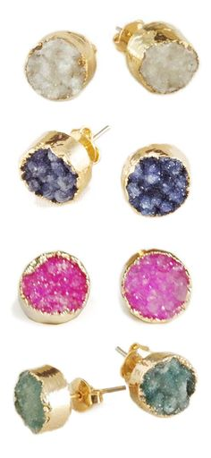 Agate Druzy Gold Dipped Earrings