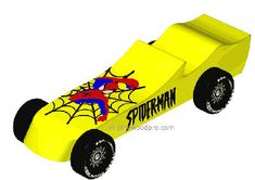 Pinewood Derby car design plan shows you how to build the spiderman car step-by-step with images. Cub Scout Activities, Fun Activities For Kids, Vintage Car Party, Vintage Cars, Awana Grand Prix Car Ideas, Spiderman Car, Luxury Car Logos, Car Animation, Pinewood Derby Cars
