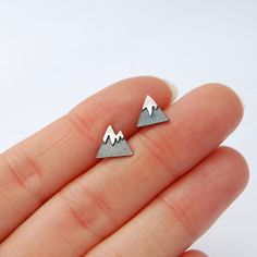 mountain studs sterling silver tiny earrings by LucieVeilleux on Etsy https://www.etsy.com/au/listing/467290678/mountain-studs-sterling-silver-tiny