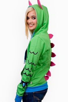 Women's Outerwear, Rave Hoodies for Women Girl Costumes, Cosplay Costumes, 80s Costume, Costume Ideas, Happy Hoodie, Dragon Hoodie, Dinosaur Costume, Cool Halloween Costumes, Animal Fashion