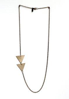 (of)matter asymmetrical brass arrow necklace