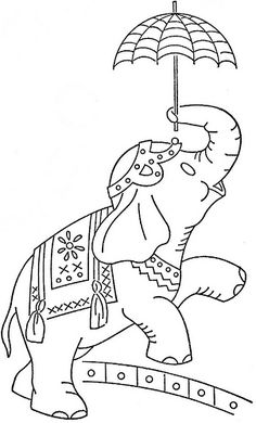 elephant with umbrella embroidery pattern Hand Embroidery Designs, Vintage Embroidery, Embroidery Stitches, Embroidery Patterns, Coloring Book Pages, Printable Coloring Pages, Elephant Art, Copics, Fabric Painting