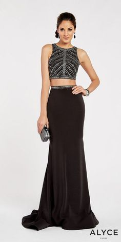 a98c4fcd8f Sleeveless Two Piece V-Back Embellished Prom Dress by Alyce Paris