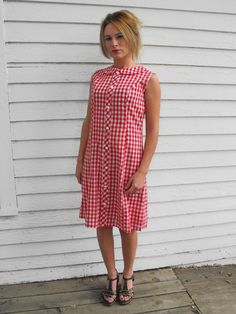 Vintage Red Gingham Dress Sleeveless 60s Liberty by soulrust, $39.99