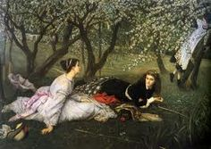 Learn more about Le Printemps (Spring) 1865 James Jacques Joseph Tissot - oil artwork, painted by one of the most celebrated masters in the history of art. John William Godward, William Adolphe Bouguereau, John William Waterhouse, Painting Frames, Painting Prints, Art Prints, Joseph, Image Nature Fleurs, Beaux Arts Paris