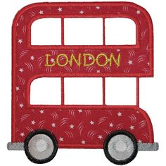 Autobús de dos pisos Baby Applique, Machine Embroidery Applique, Applique Patterns, Applique Quilts, Applique Designs, Machine Quilting, Cross Stitch Embroidery, Quilt Patterns, Patch Quilt