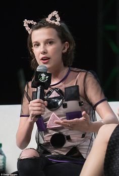 Rising star: Millie Bobby Brown was cute and carefree during her appearance at Emerald Cit...