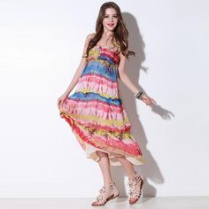 NEONICE Rainbow Mixed Colors Dress Q10512E Casual Dresses For Women, Color Mixing, Dress Outfits, High Low, Rainbow, Summer Dresses, My Style, Lady, Colors