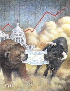 This was to be the cover illustration for a retirement/financial magazine out of Washington D. The Bull and The Bear Valor Tattoo, Stock Market Futures, Best Savings Account, Financial Quotes, Scully And Scully, Bull Cow, Bear Images, Trading Quotes, Political Art