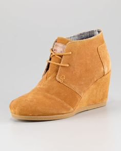 TOMS - Suede Lace-Up Wedge Boot  So cute!  Must have in the light gray!