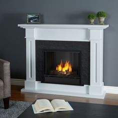 With clean lines and a textured faux slate firebox surround, the Real Flame Kipling Fireplace features authentic craftsman appeal, suitable for virtually any space. The hand-painted logset and bright