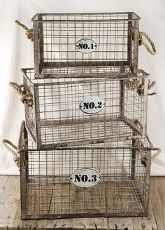 Wire Crates Baskets Numbered Rope Handles (set of From Save on Crafts Vintage Baskets, Metal Baskets, Vintage Decor, Storage Baskets, Metal Bins, Wire Storage, Vintage Room, Vintage Furniture, Wire Crate