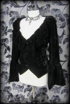 Elegant Goth Black Velvet Trumpet Sleeve Ruffle Jacket 14 Romantic Victorian | THE WILTED ROSE GARDEN