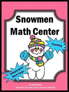 """Winter Math Snowman Game: This is a favorite snowman activity for your winter math center. It also makes a great independent work task for students with special needs. Print the 10 snowman pages on card stock and/or laminate for durability. Supply your winter math math center with buttons of various sizes and shapes. Parents or grandparents are a great resource for supplying buttons! Otherwise, the last two winter math pages are printable """"buttons."""""""