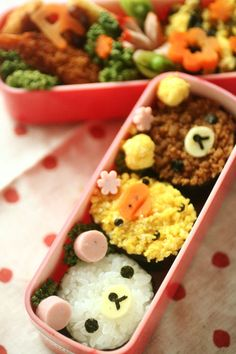 Kawaii animal onogiri bento box