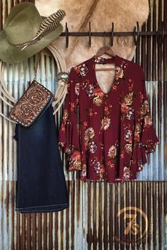 The Olivia - Vintage wine floral top featuring large keyholes in the front and back, and just the right amount of flowiness for a super sexy and flattering fit. Angled bell sleeves. Cowgirl style. Rodeo fashion. Women's Western Wear. Ranch style. Boho Cowgirl.