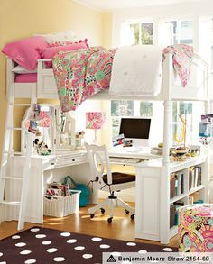 The perfect solution for tiny rooms! Study & Sleep. You can do your homework under your bed. Lover it! Enough said. (I have dreamed about having a room like this since I was a kid!) PB Teen