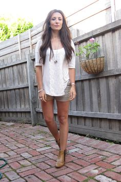 White over sized shirt, CK shorts and Tawny ankle boots.