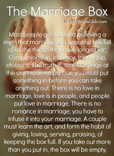 The marriage box.  Sometimes we are called to help to lift another woman who is going through marriage problems.  If they are young and we know them well enough...this would be good advice.  -Penny-