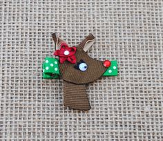RedNosed Reindeer Ribbon Sculpture Hair Clip by BelleandRoseBows, $3.50