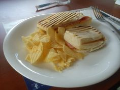 Ham and cheese panini and chips c/o Cafe France