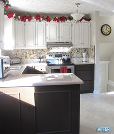 Outdated kitchen updated with white paint on cabinets, a blacksplash, and paint and epoxy on the countertops