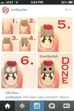 Rudolph the Reindeer Nail Art Tutorial nails diy reindeer nail art christmas tutorials christmas ideas christmas nails rudolph nail tutorials Christmas Nail Polish, Xmas Nail Art, Cute Christmas Nails, Christmas Nail Art Designs, Holiday Nail Art, Xmas Nails, Winter Nail Art, Winter Nails, Christmas Ideas