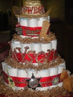 "Western themed ""diaper cake"" contains no cake, but is a whimsical and fun presentation of a very useful gift for the new parents!"
