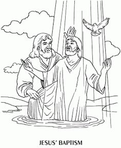 Jesus Is Baptised Beautiful Coloring Page Of Baptism For Kids