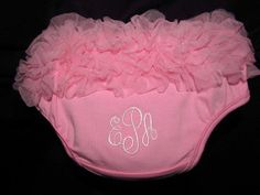 Ruffled  Diaper Cover  Bloomer Pink with Personalized Embroidered Monogram Baby Girl Gift on Etsy, $14.00