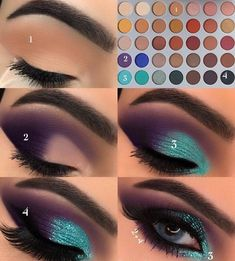 Gorgeous Makeup: Tips and Tricks With Eye Makeup and Eyeshadow – Makeup Design Ideas Makeup Eye Looks, Eye Makeup Steps, Skin Makeup, Teal Eye Makeup, Makeup Eyeshadow, Makeup Light, Makeup Brushes, Green Makeup, Good Makeup