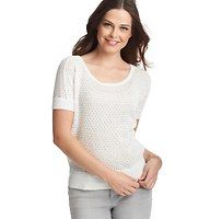 The Look for Less!  Open Stitch Wedge Short Sleeve Sweater, LOFT, $49.50