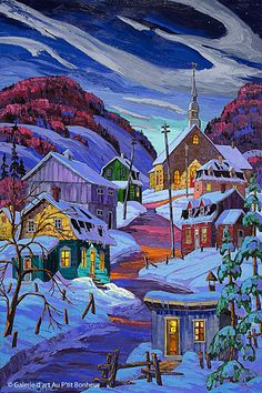 """""""Oh I love the colours in this one. Another cold painting. Vladimir Horik is the artist. Landscape Art, Landscape Paintings, Canadian Art, Naive Art, Winter Scenes, Rock Art, Impressionist, Paper Art, Pictures"""
