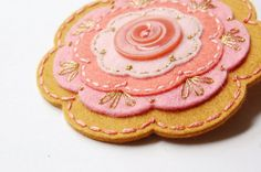 Coral and Gold Embroidered Wool Brooch by SewSweetStitches on Etsy