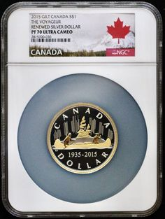 """Item specifics   Seller Notes: """"Rare, Stunning Low Mintage 24-Karat Gold Gilt 2 Ounce Historic Voyageurs Design. The First Coin In The Canadian Renewed Silver Dollar Series And The Very First 2 Ounce Canadian Silver Dollar.  Very Limited Mintage Of 2200 Coins.  Only 6 PF70 Exist, All..."""