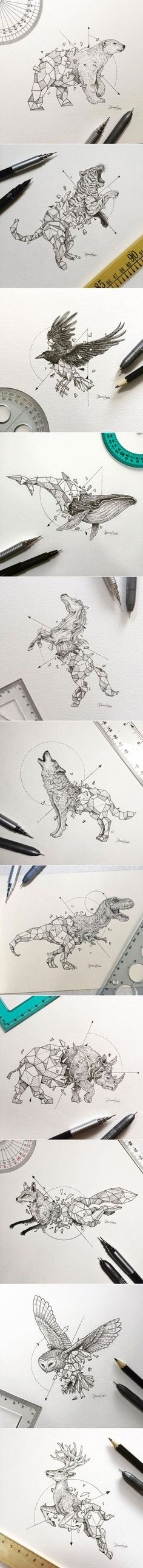 Geometric animal tatoo design by Kerby Rosanes Animal Sketches, Animal Drawings, Cool Drawings, Body Art Tattoos, Cool Tattoos, Tatoos, Neck Tattoos, Petit Tattoo, Geniale Tattoos