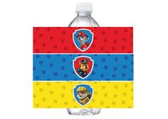 Paw Patrol water bottle label birthday paw by PaperPartyDesign
