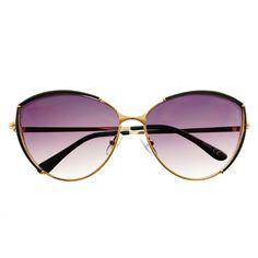 #cat #eye #large #fashion #designer #womens #retro #vintage #style #brown #gold