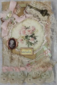 Shabby Chic Roses, OOAK, Handmade Art, Notebook, Scrapbookm, Memory Book Elite4u #Country   Guest book!? Baby scrap book?